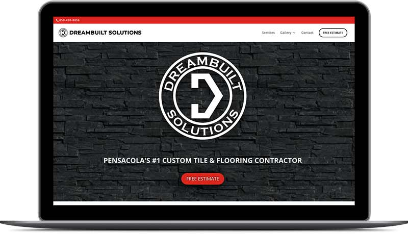 Dreambuilt Solutions Contractor Homepage Desktop View