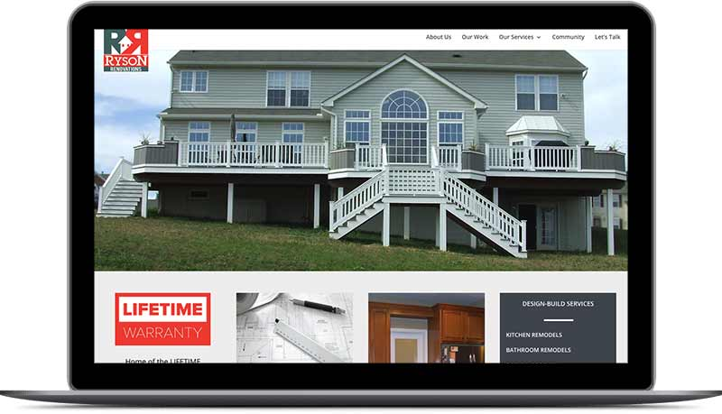 Ryson Renovations Contractor Homepage Desktop View